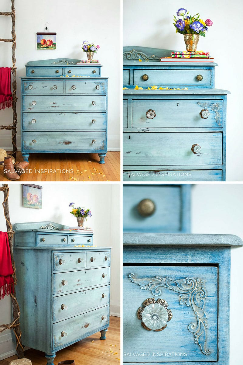 Salvaged Inspirations Painted Dresser Makeover Collage - Dixie Belle Paint