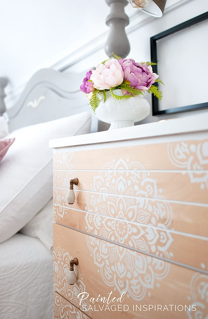 Bedroom Small Dresser Makeover - Mandala Stencil