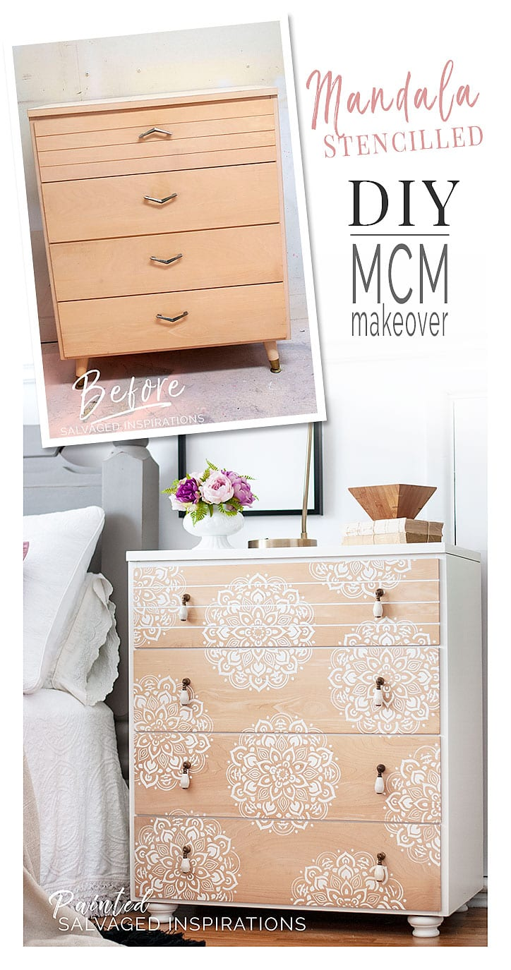 Mandala MCM Stencilled Dresser - Before and Afte
