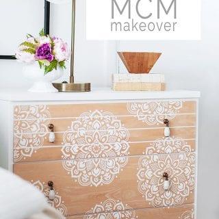 Mandala Stencilled MCM Dresser in Bedroom