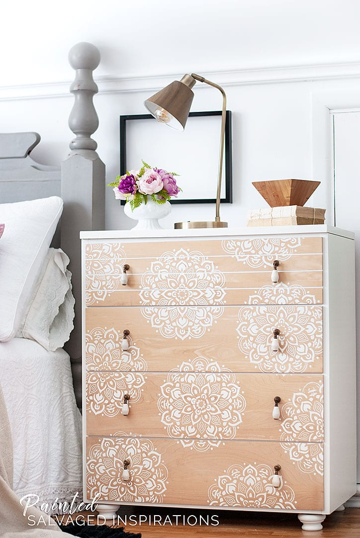 Mandala Stencils - Bedroom Side Table Makeover