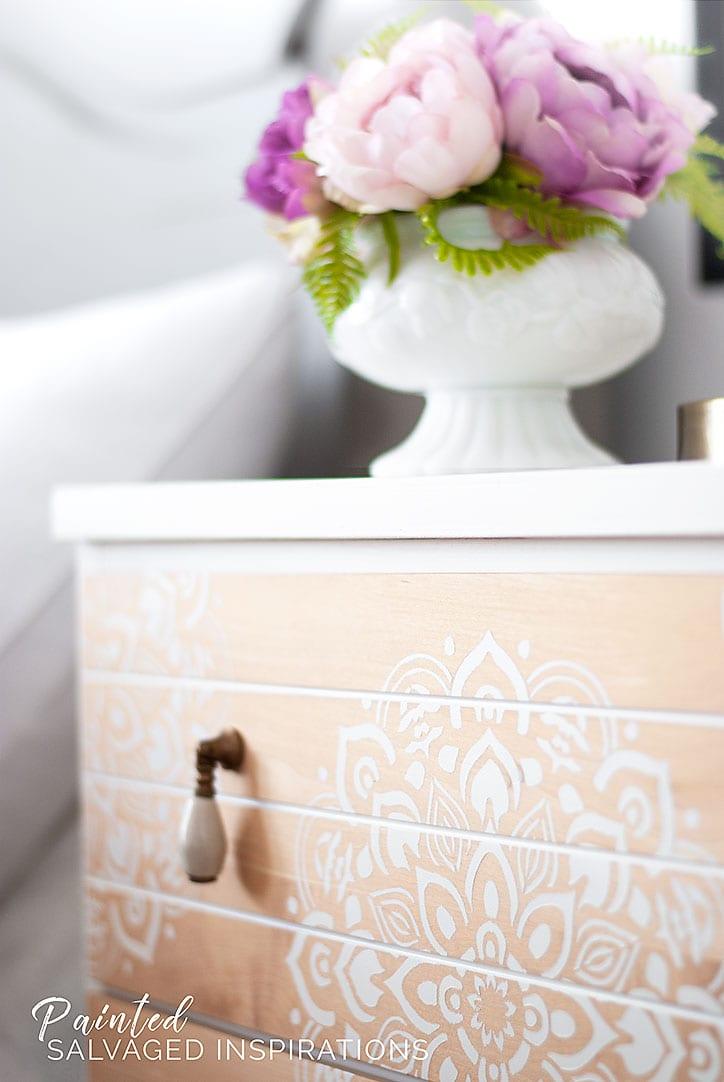 Mandela Stencilled Dresser w Flowers