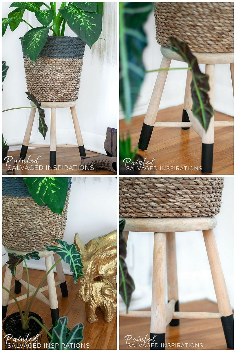 Natural Stripped Wood Plant Stand - Salvaged Stool Makeover