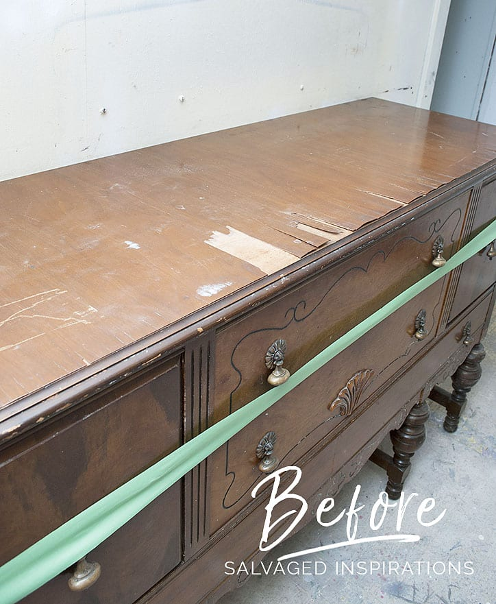 Painted and Stained Vintage Buffet - Before