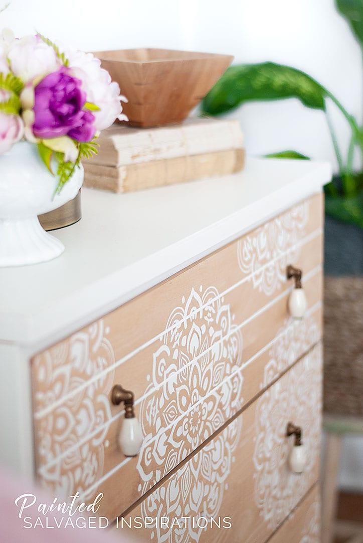 Stencilled Mid Century Dresser - Mandala Design