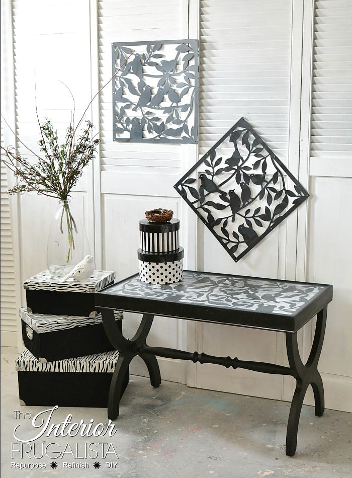 Black Bird Table Stenciled - InteriorFrugalista