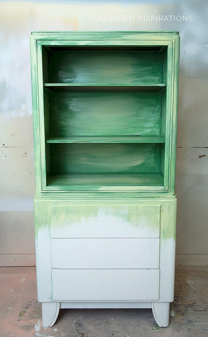 Blending Chalk Mineral Paint on Hutch - Before