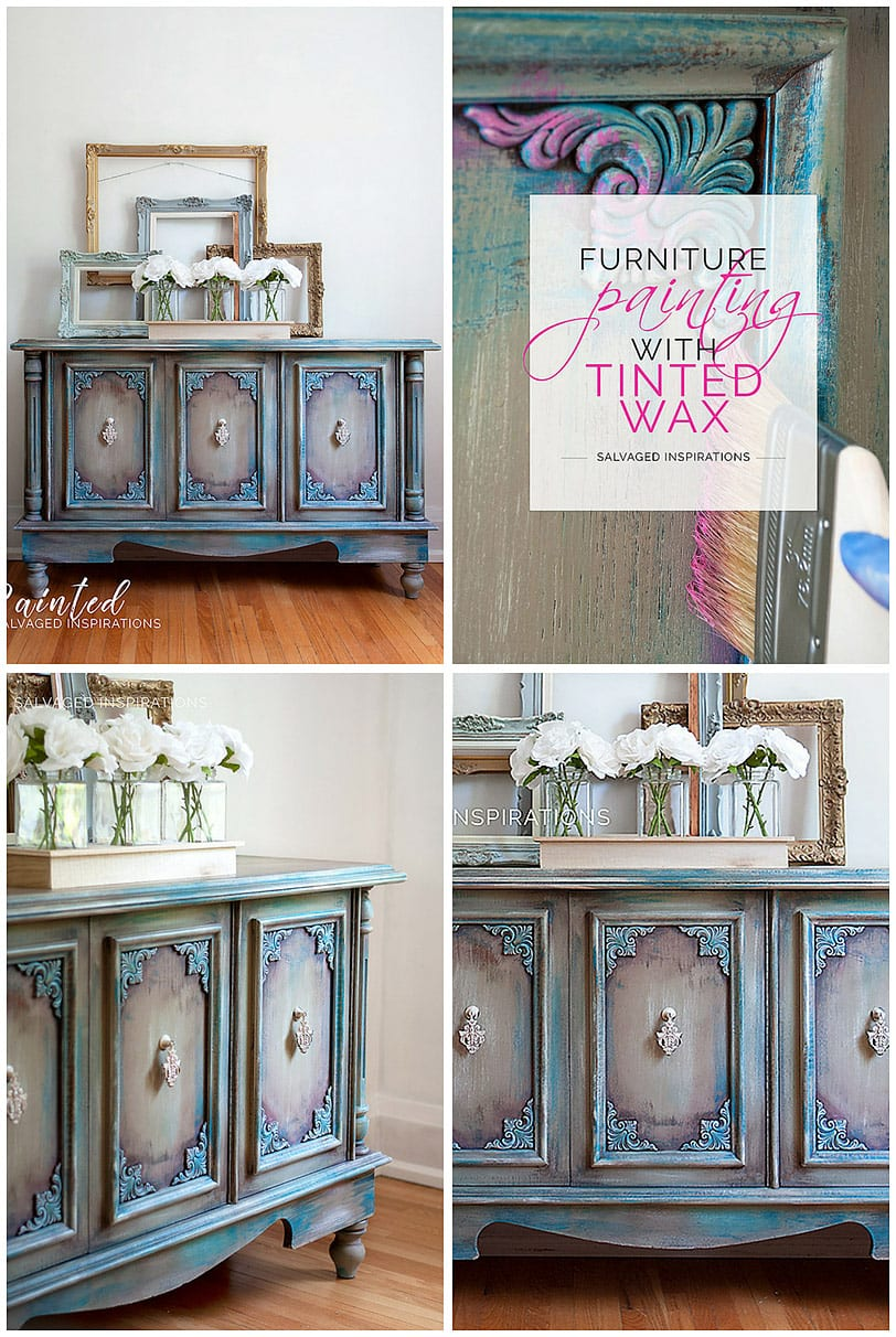 Furniture Painting w Pink Tinted Wax - Collage