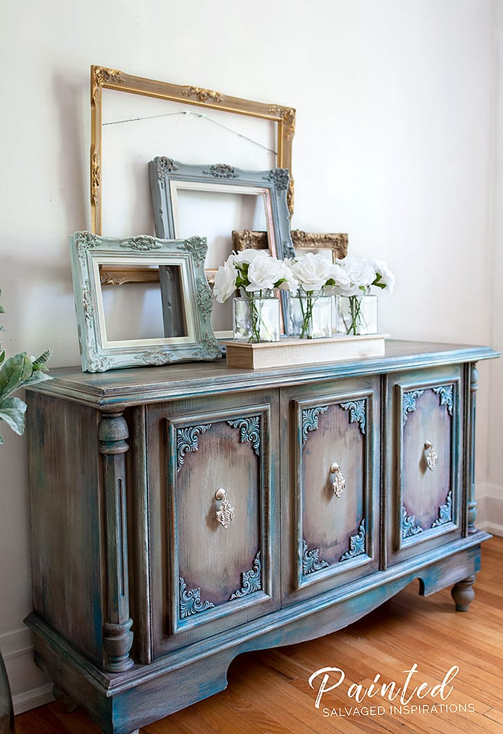 Painting Furniture with Pink Wax - Buffet Makeover