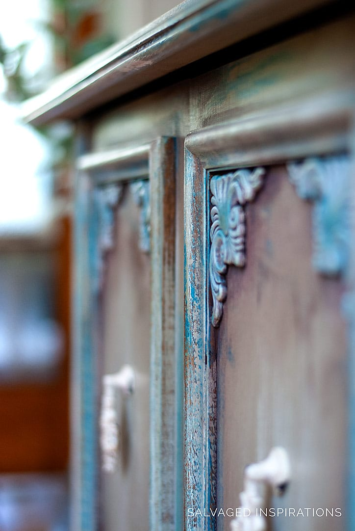 Tinted Waxed Buffet - Close Up