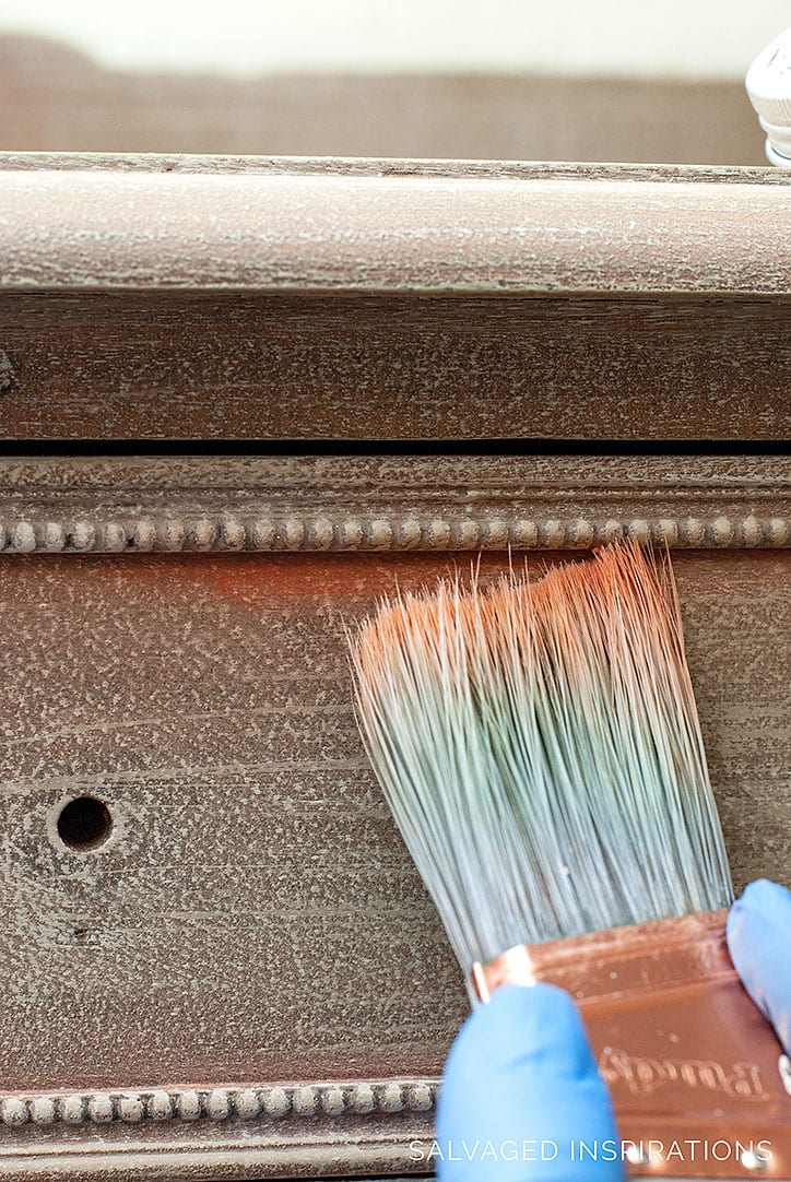 Applying Artisan Powder to Salvaged Dresser Redo