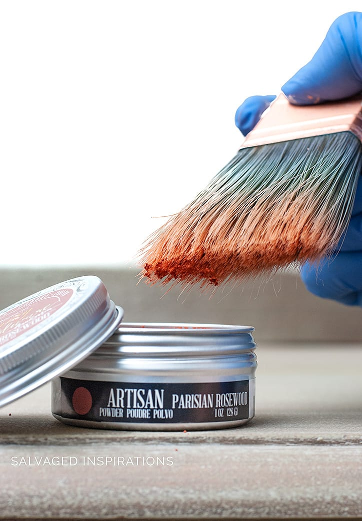 Brushing on Prima Artisan Powder onto Salvaged Dresser