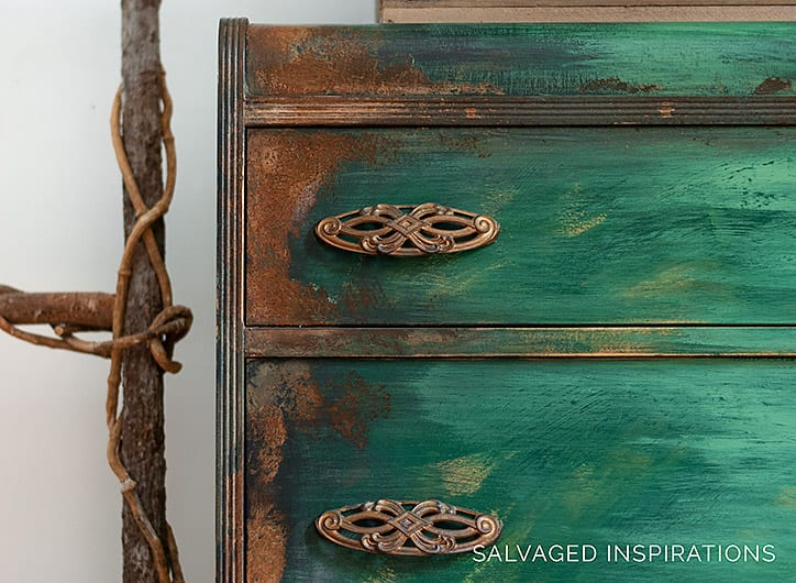 Close Up Corner of Rusted Patina on Waterfall Dresser