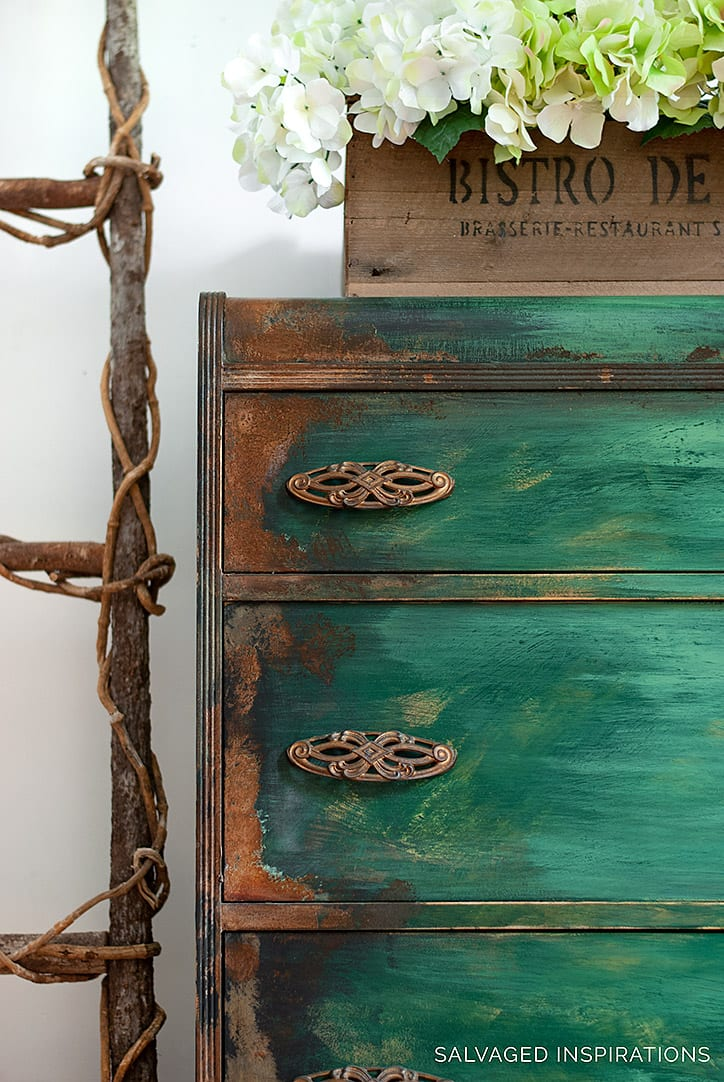 Close Up of Rusted Patina on Waterfall Dresser