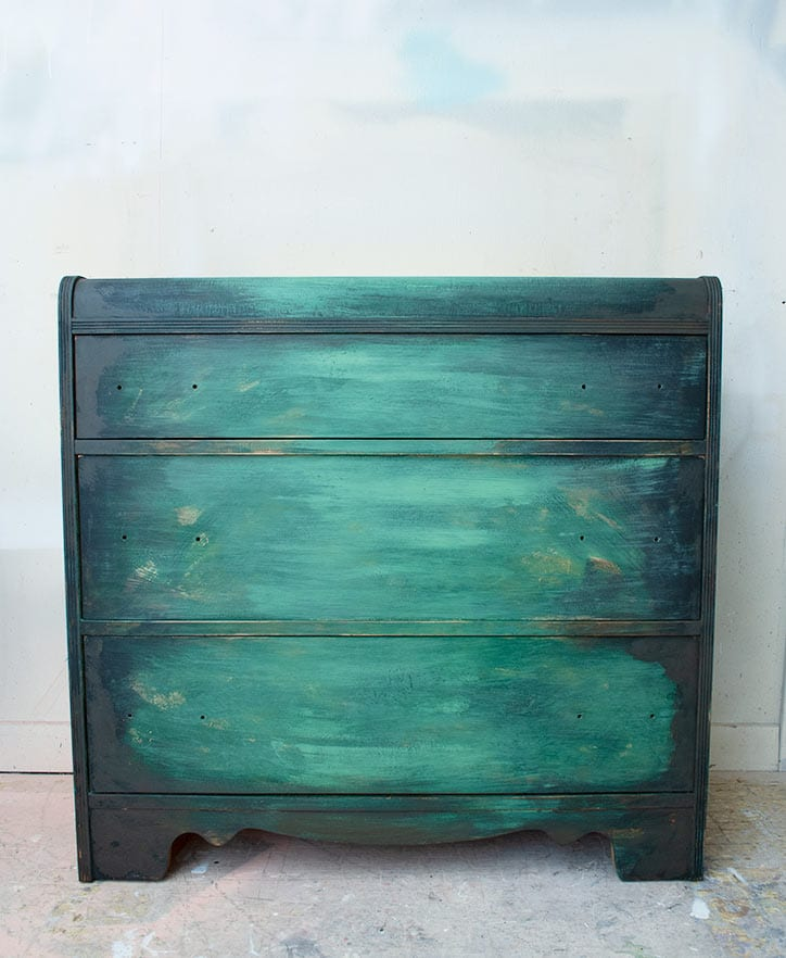 Patina Painted Rusted Waterfall Dresser in Process