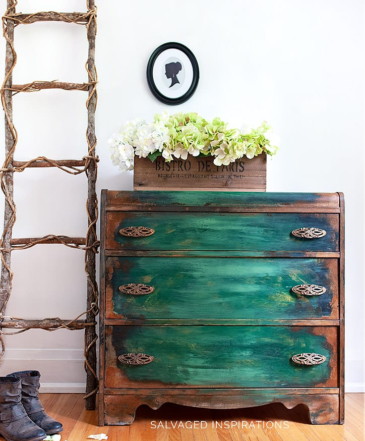 Patina Painted Waterfall Dresser Makeover