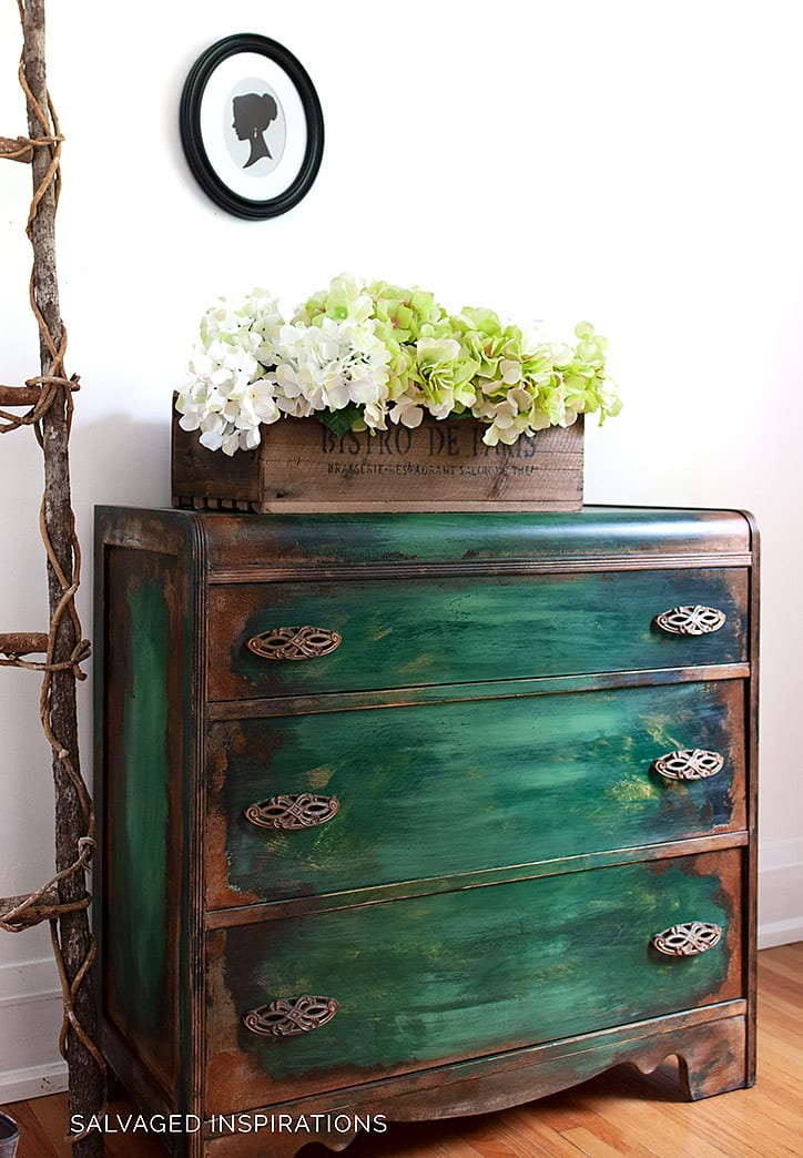 Side View of Patina Painted Dresser