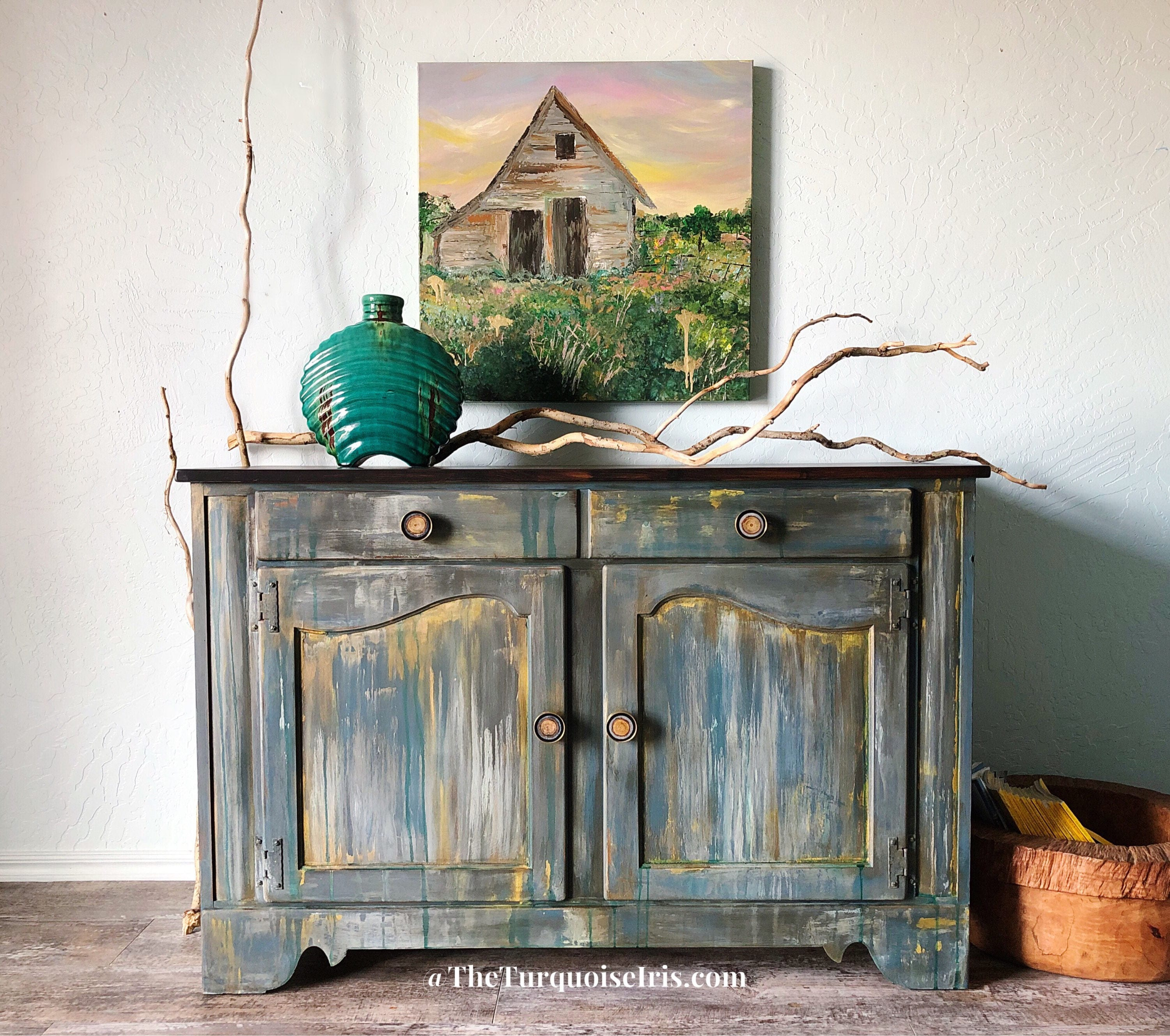 The Turquoise Iris - Rustic Boho Farmhouse Buffet