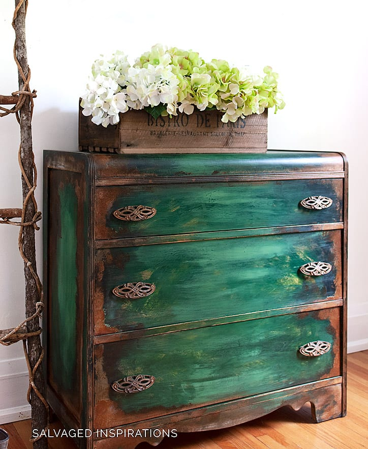Waterfall Patina Painted Dresser