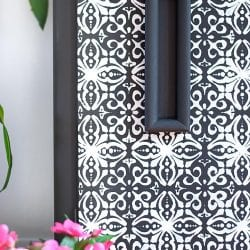 Close Up of ReDesign French Trellis Stencil on Furniture Buffet