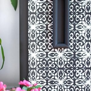 7 Furniture Stenciling Tips |  French Trellis Buffet Makeover