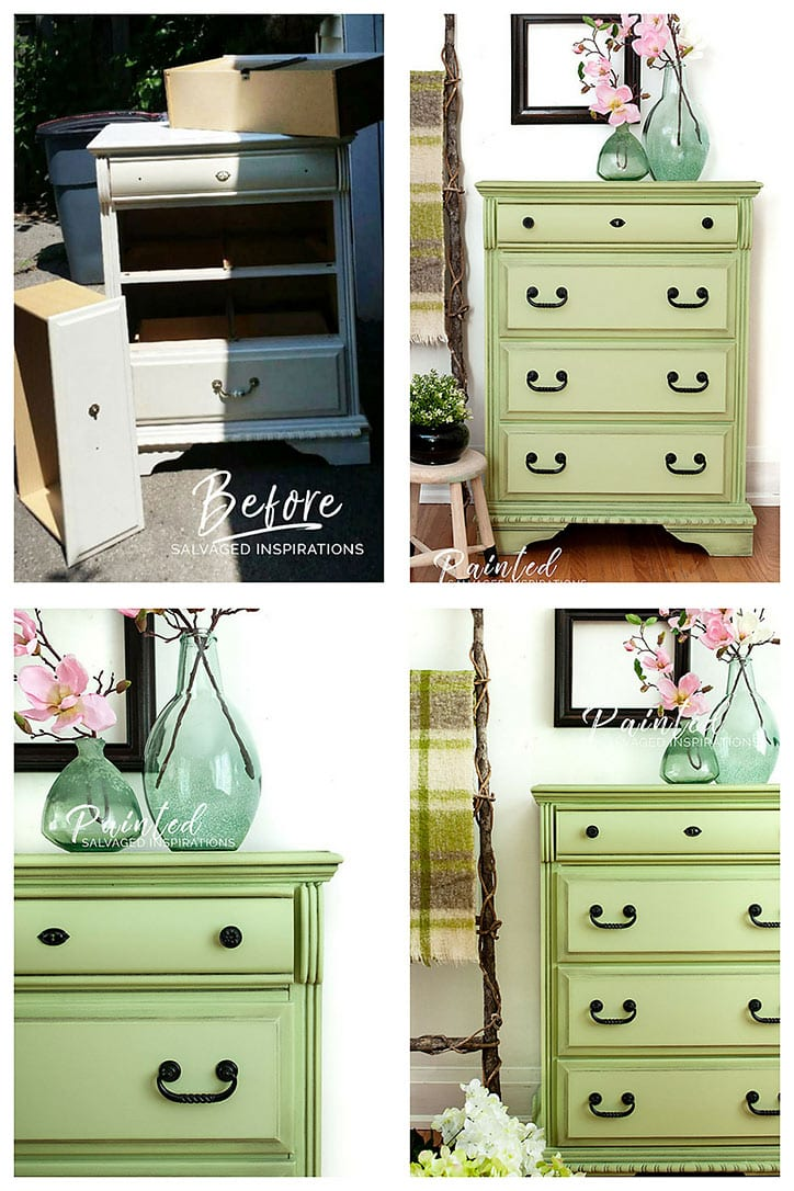 Curbshopped Dresser in Farmhouse Green - Before and After