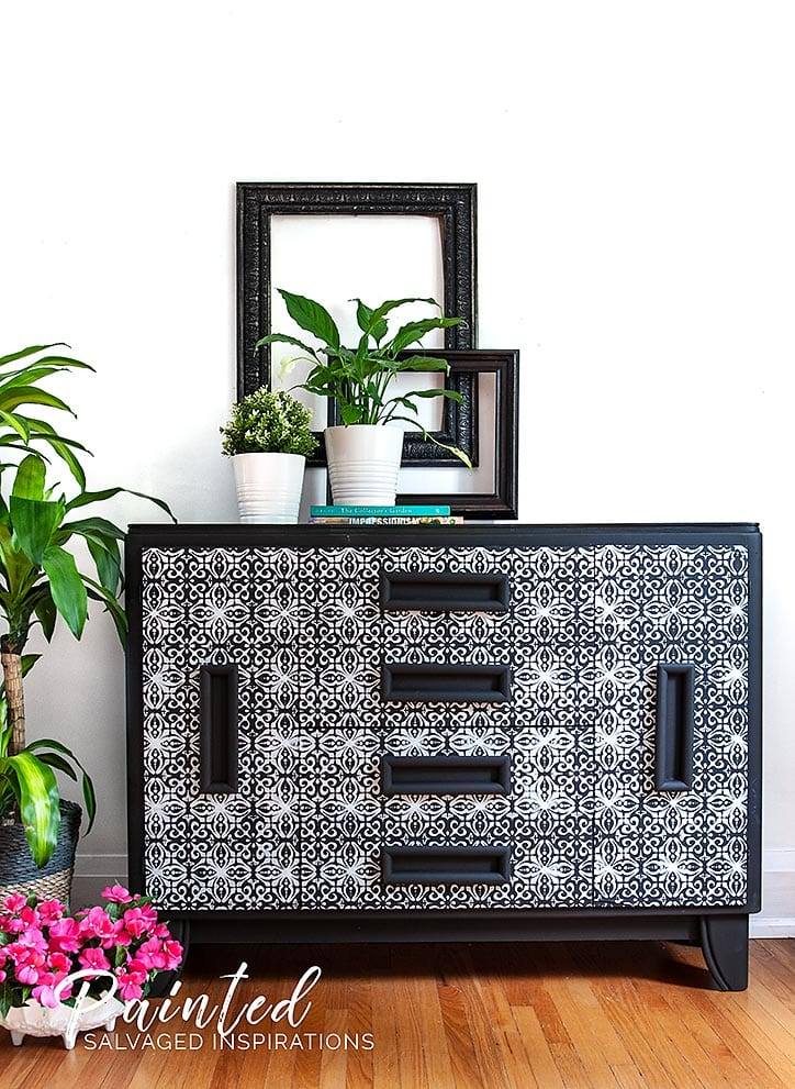 Furniture Stenciling - Salvaged Buffet Makeover