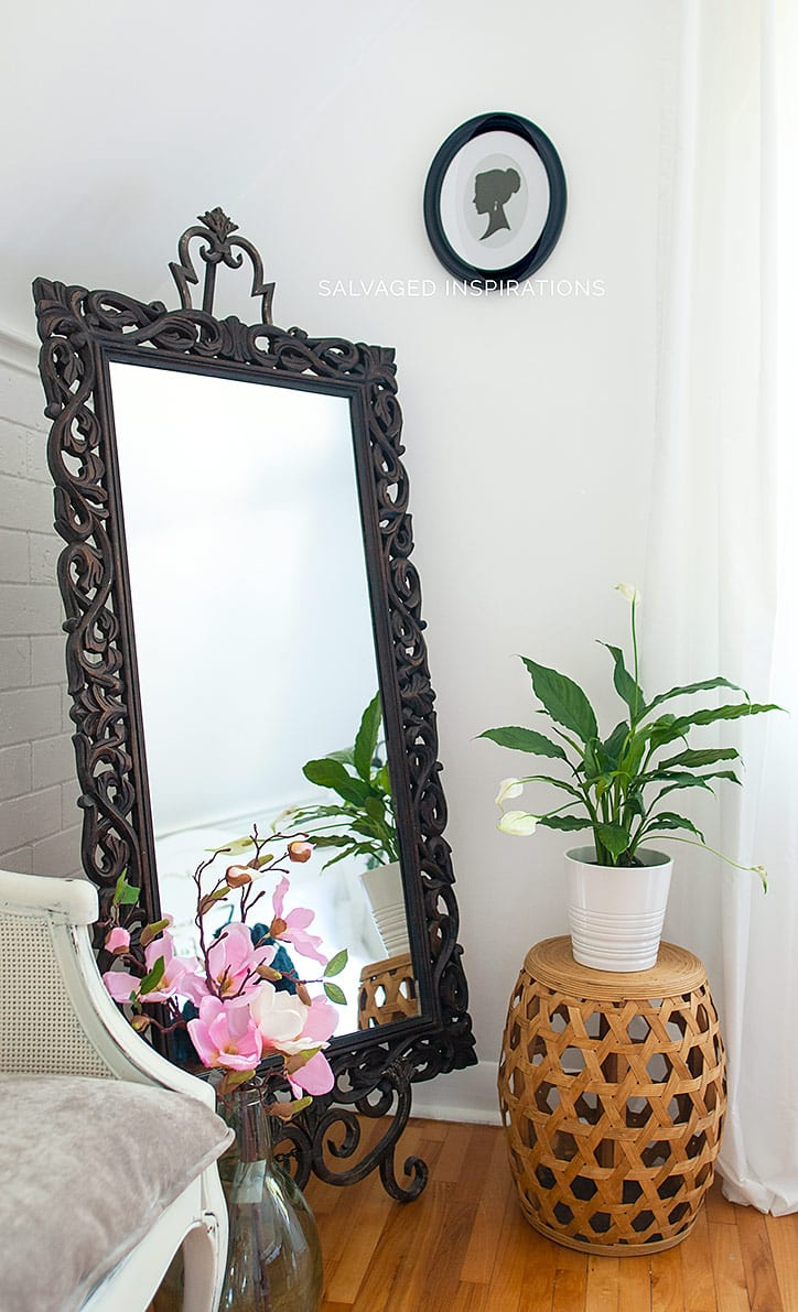 Mirror on Easel - Salvaged Bedroom Makeover