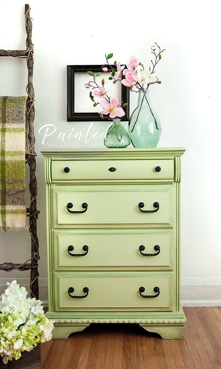 Painted Dresser in Farmhouse Green and Dark Wax1