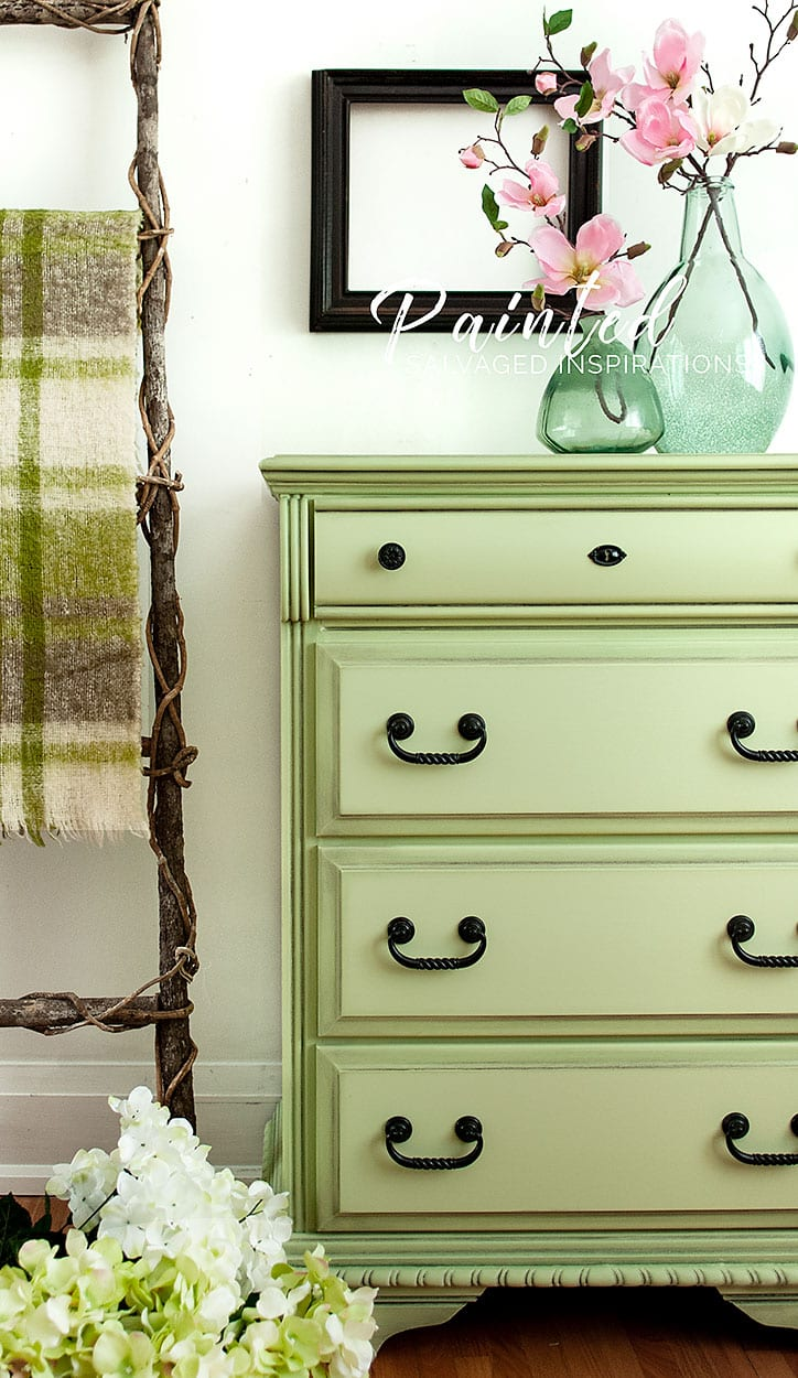 Salvaged Dresser Painted in Farmhouse Green1