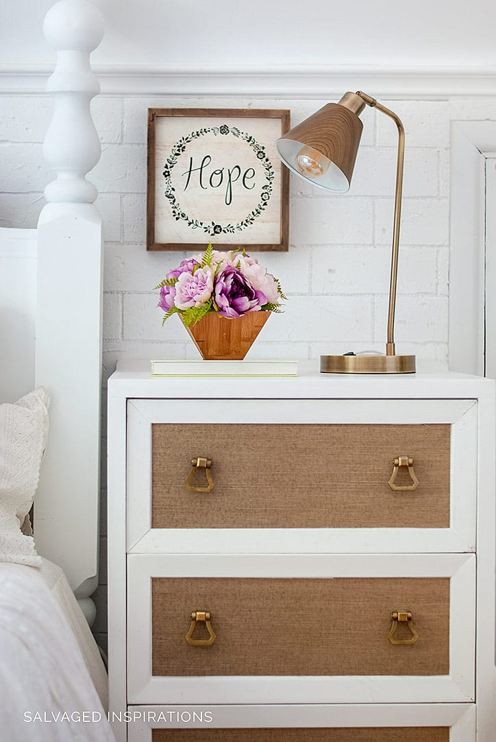 Salvaged Nightstand w Wallpapered Drawers