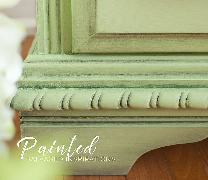 Waxed Farmhouse Green Dresser - Close Up