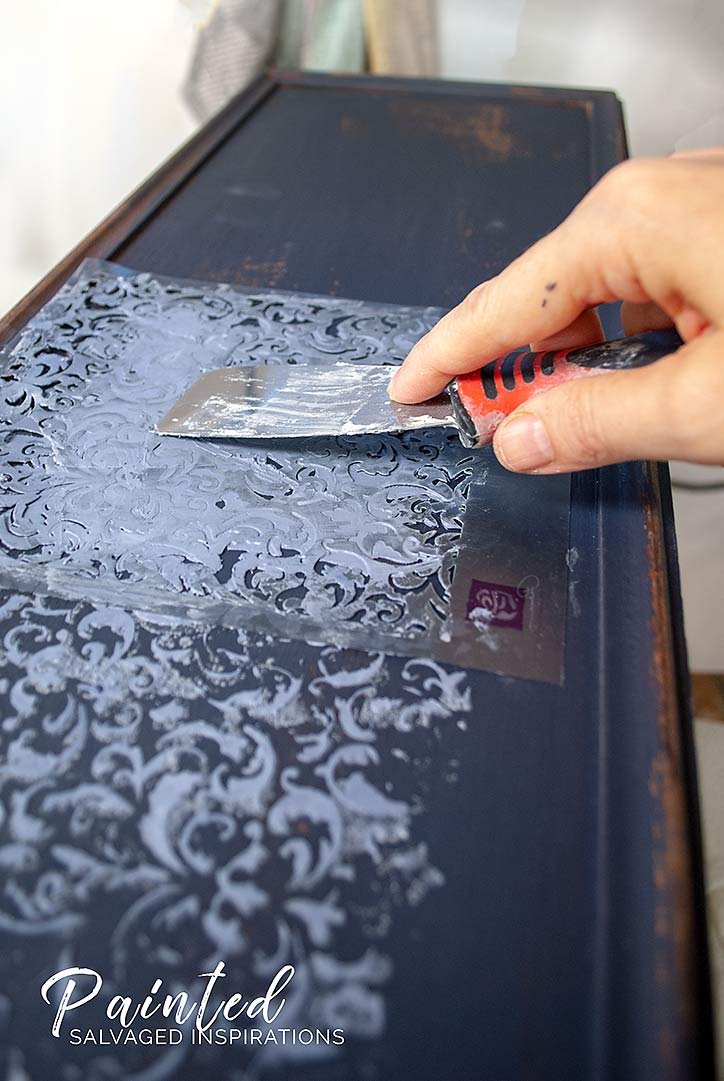Adding Raised Stencil To Dresser Drawer