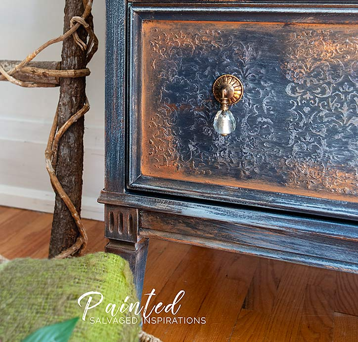 Close Up Raised Stencil and Bronze Gilded Drawers