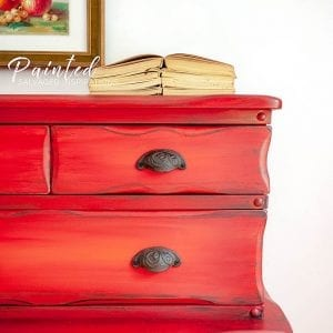 Close Up of Blended Painted Thrift Store Dresser Makeover