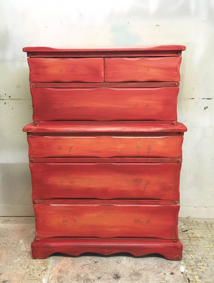Red and Orange Dresser Makeover In Progress