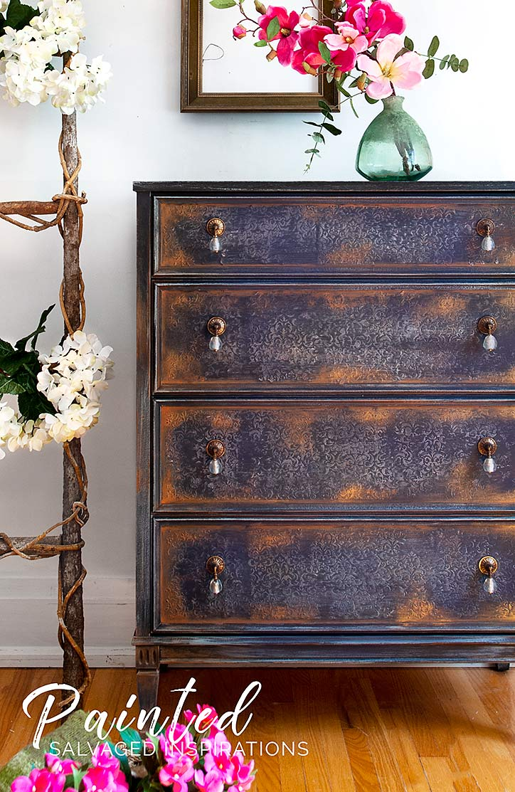 Thrift Store Dresser Makeover Using Gilding Wax