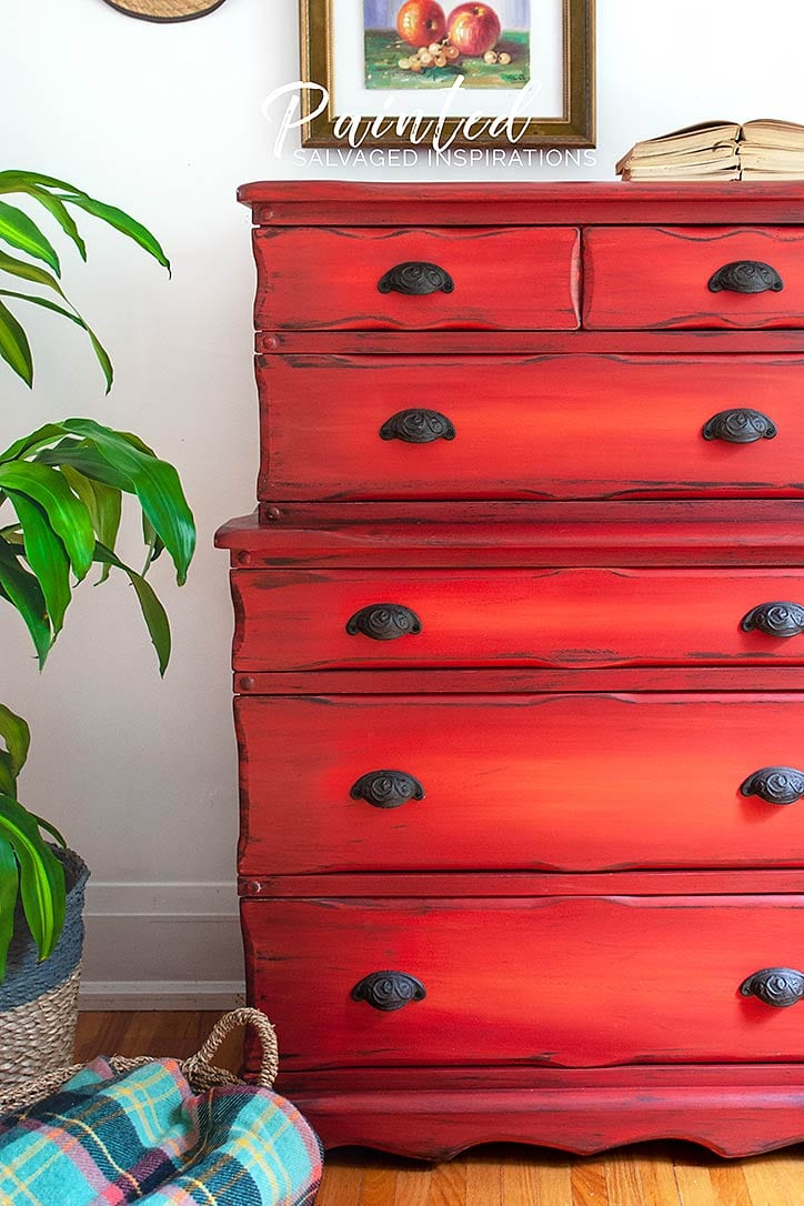 Thrift Store Red Painted Dresser Makeover