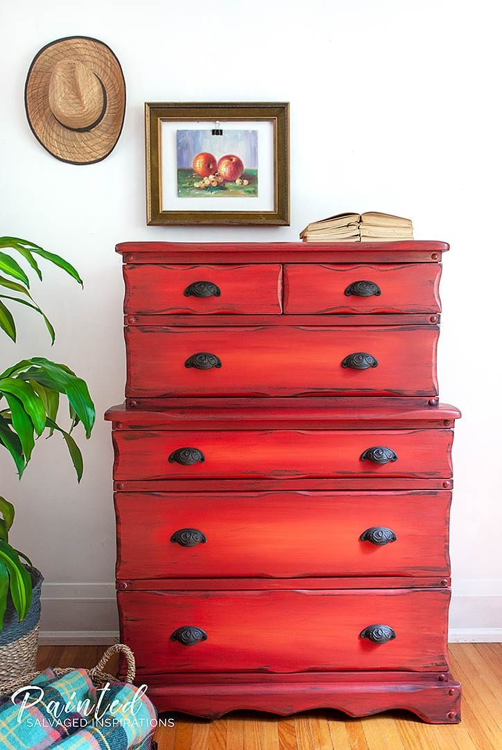 Thrift Store Two Tier Red Dresser Makeover