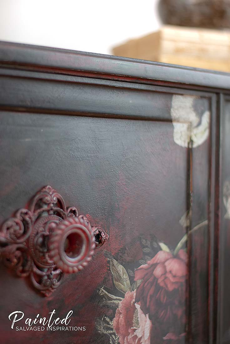 Close Up Of Painted Furniture w Floral Transfer