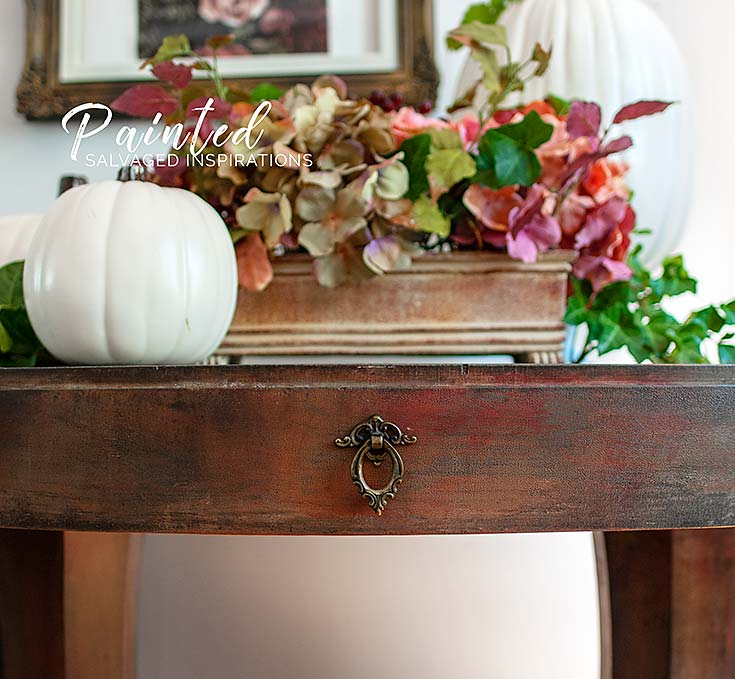 Close Up of Painted DB Entryway Table by Salvaged Inspirations