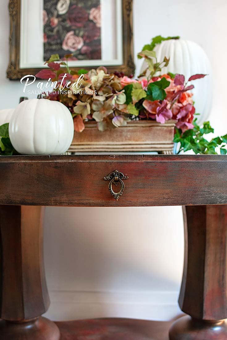 Close Up of Painted Entryway Table by Salvaged Inspirations