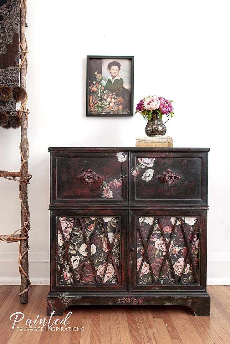 Furniture Transfer Rub on Painted Stereo Cabinet