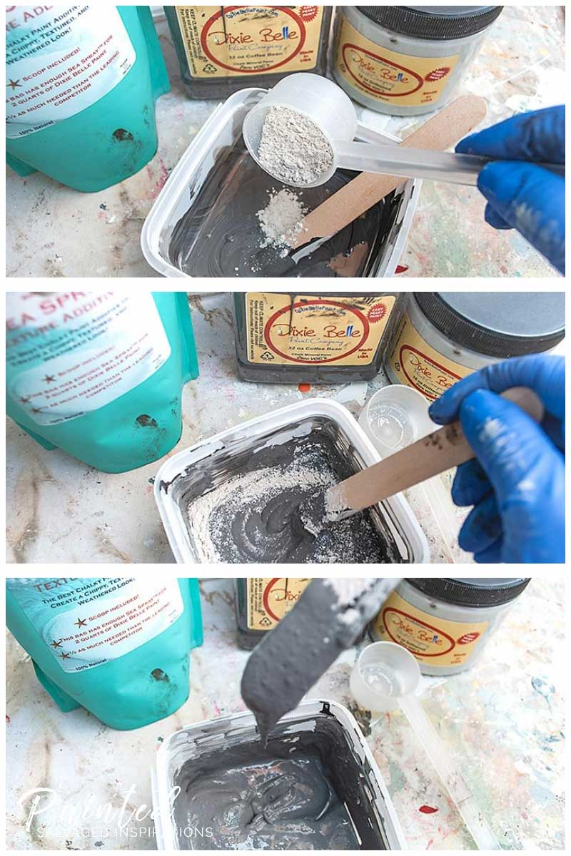 Mixing Dixie Belle Sea Spray Texture into Paint