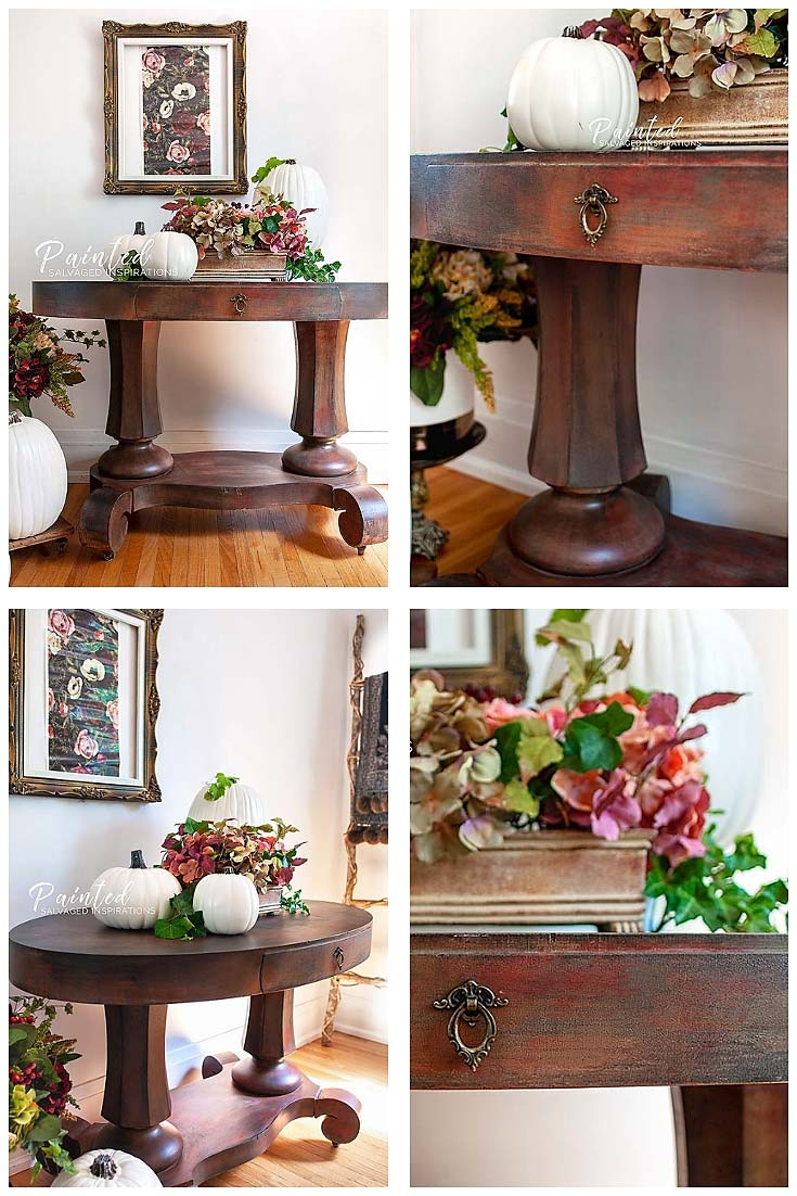 Oval Entryway Table Makeover For Fall - Salvaged Inspirations