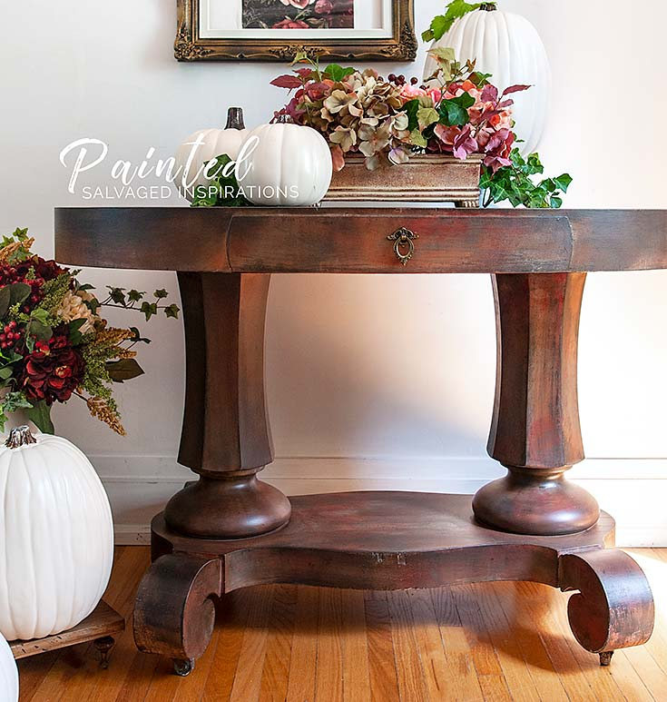 Salvaged Entryway Table - Painted w DB