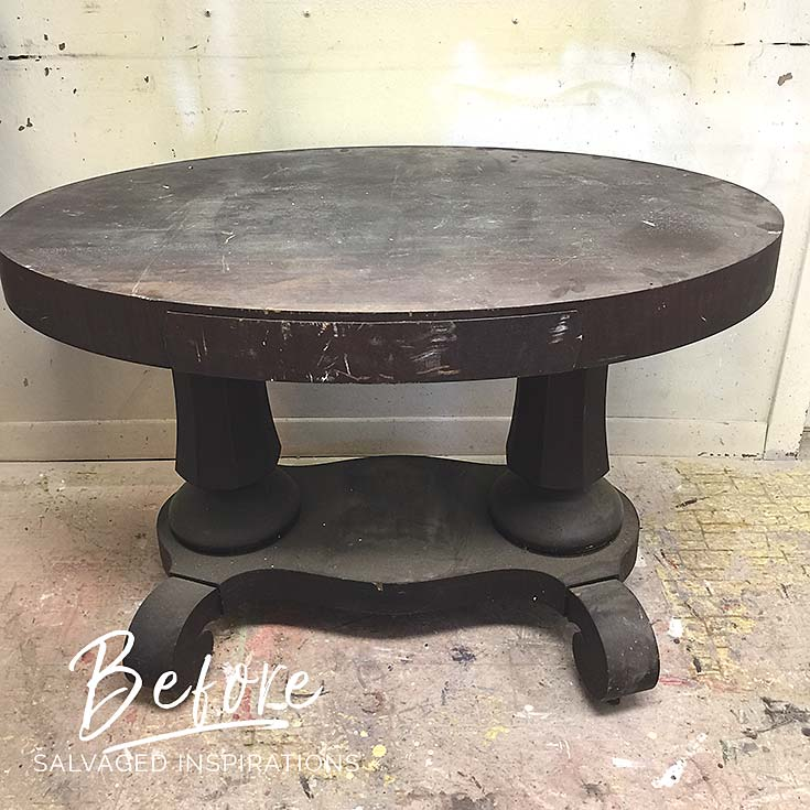 Salvaged Oval Entryway Table - Before