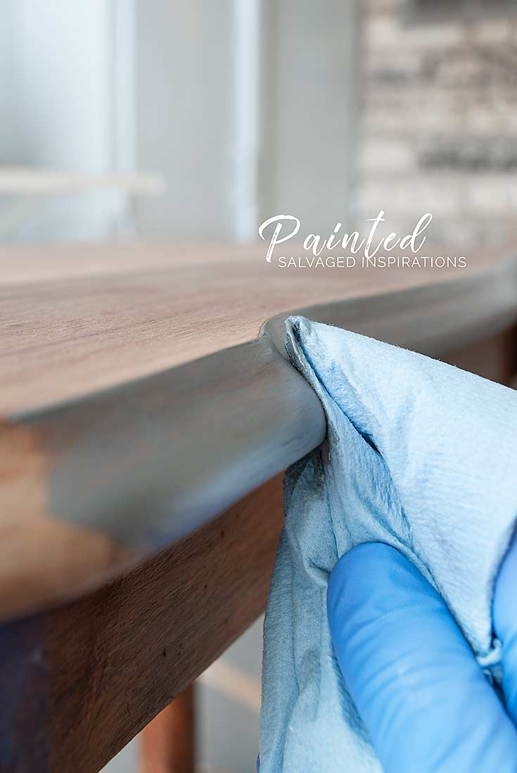 Apply Grey Wood Stain to Table