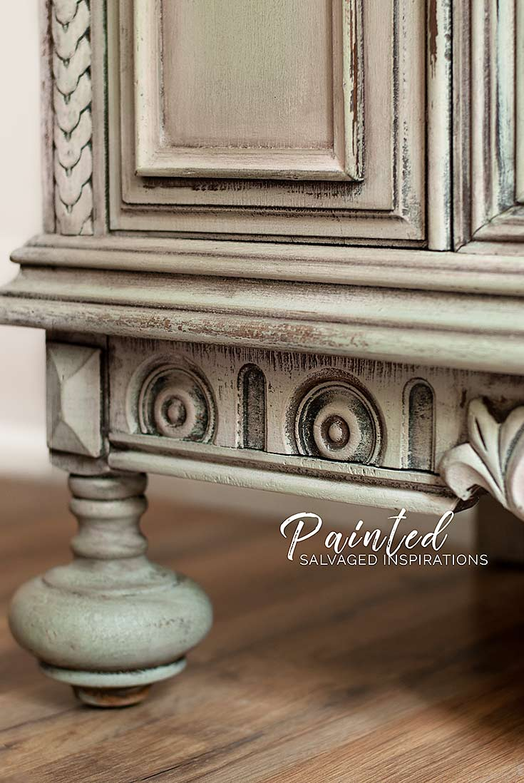 Close Up of Sage and Tea Rose Painted Buffet