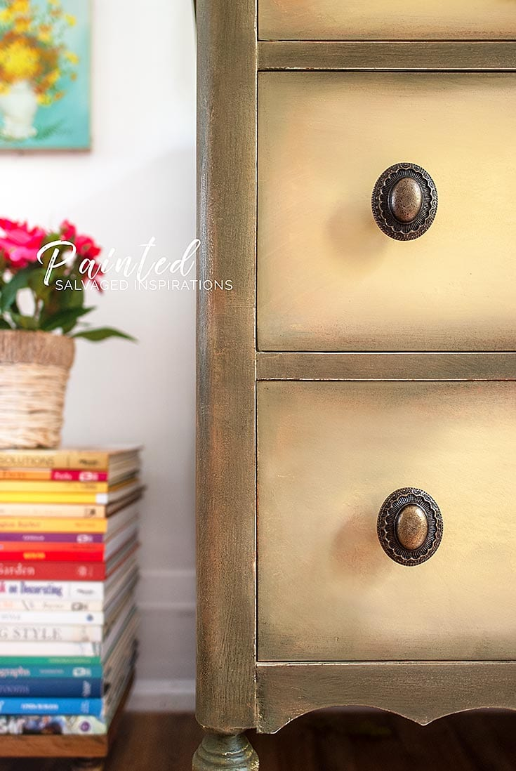Close Up of Salvaged Rebel Yellow Vintage Dresser